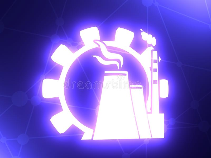 Atom station and gear icons stock image