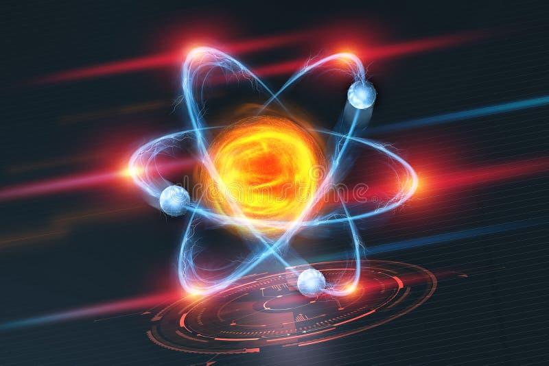 atom- struktur för gammal skola för blackboarddrawhand Futuristiskt begrepp på ämnet av nanoteknik i vetenskap vektor illustrationer