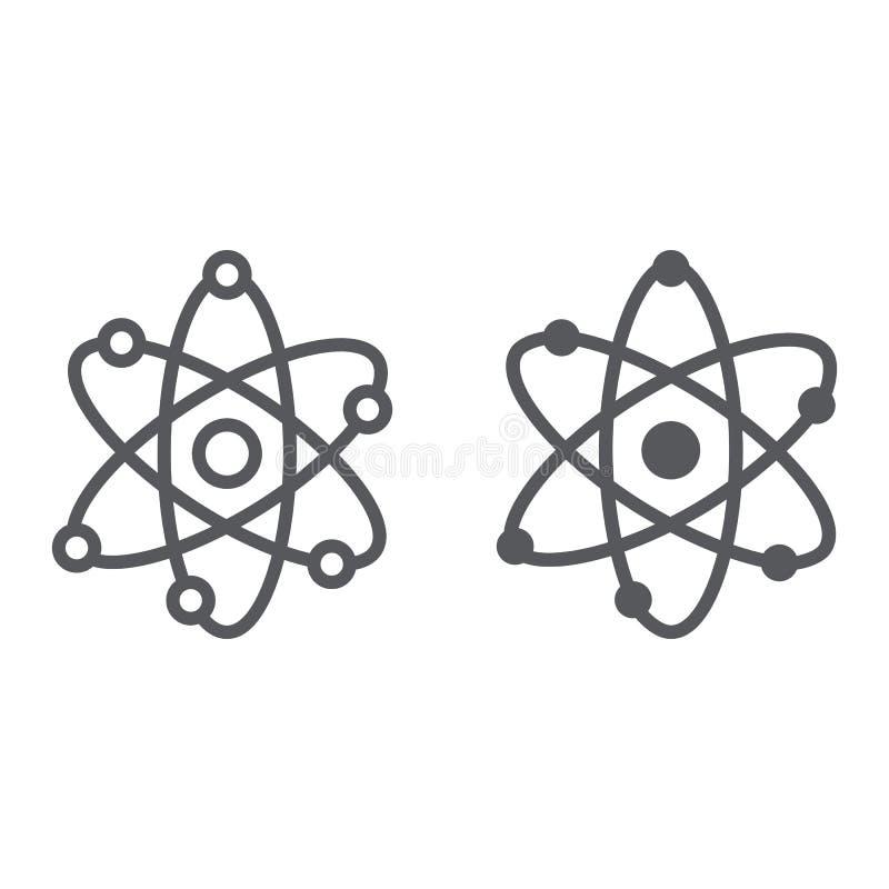 Atom struktury linia i glif ikona, naukowy i jądrowy, jądro znak, wektorowe grafika, liniowy wzór na bielu ilustracji