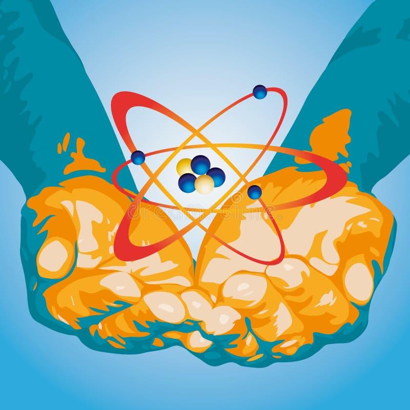 Atom und Hände (Vektor) stock abbildung