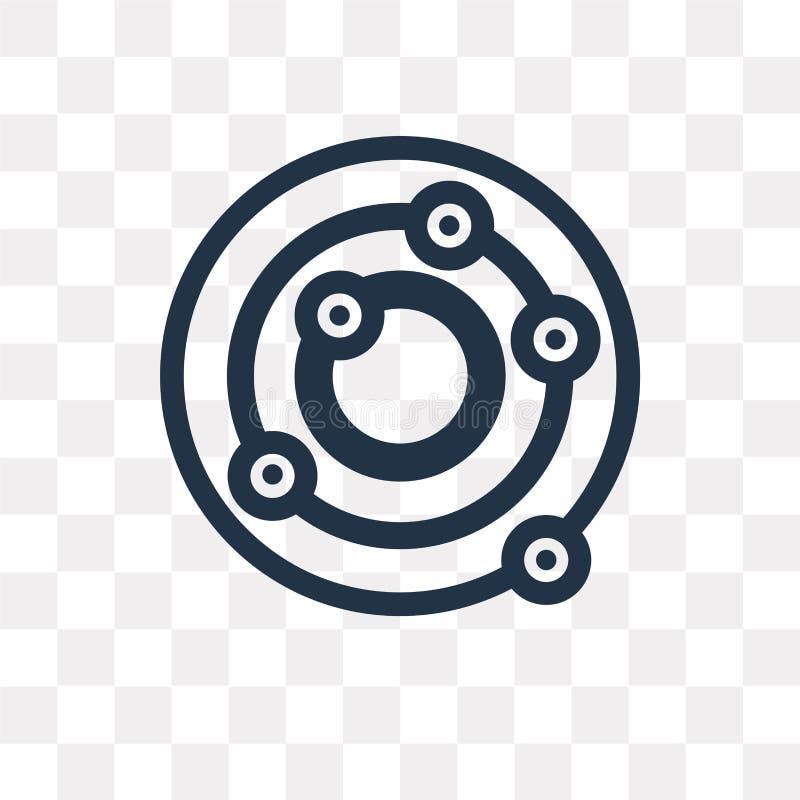 Atom wektorowa ikona odizolowywająca na przejrzystym tle, atomu tra ilustracji
