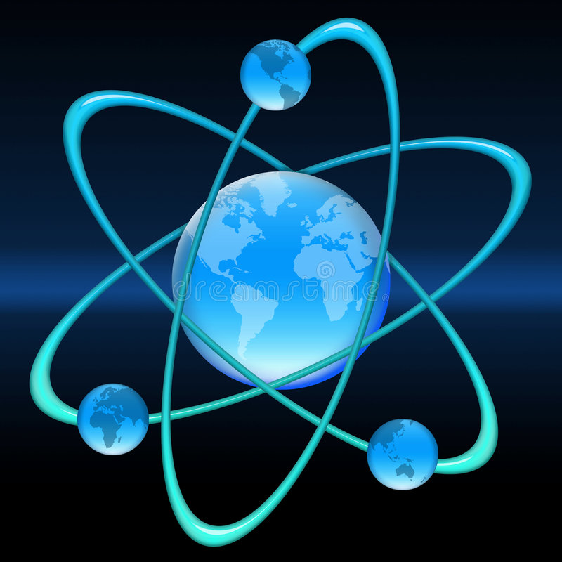 Atom-Welt stock abbildung