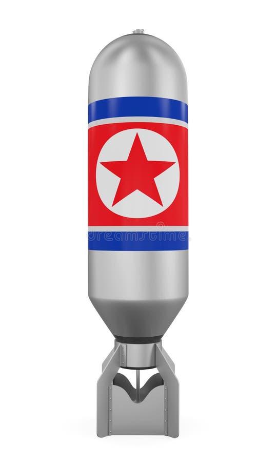 Atombomb med den Nordkorea flaggan royaltyfri illustrationer