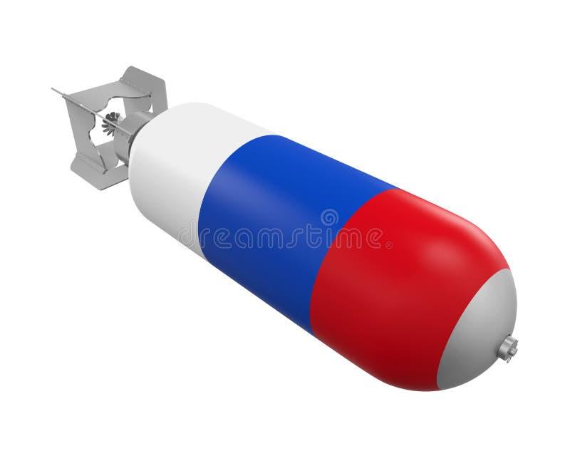 Atombomb med den Ryssland flaggan stock illustrationer