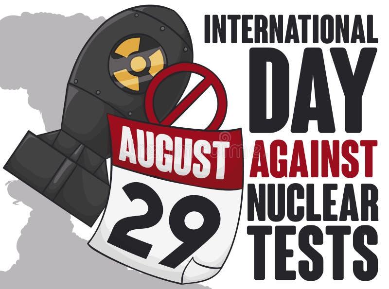 Atombomb och kalender för internationell dag mot det kärn- provet, vektorillustration vektor illustrationer