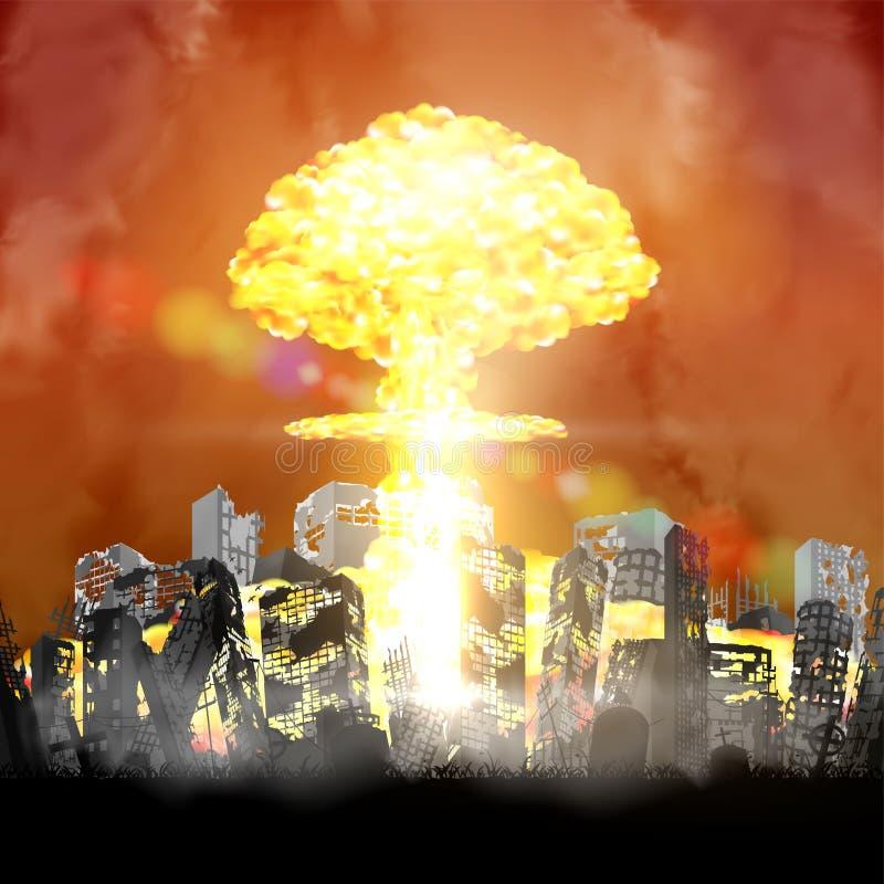 Atombombe, die über ruiniertem Stadtgebäude explodiert stock abbildung