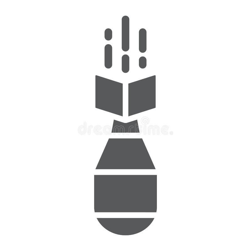 Atombombe Glyphikone, Waffe und Militär, Luftbombenzeichen, Vektorgrafik, ein festes Muster auf einem weißen Hintergrund stock abbildung