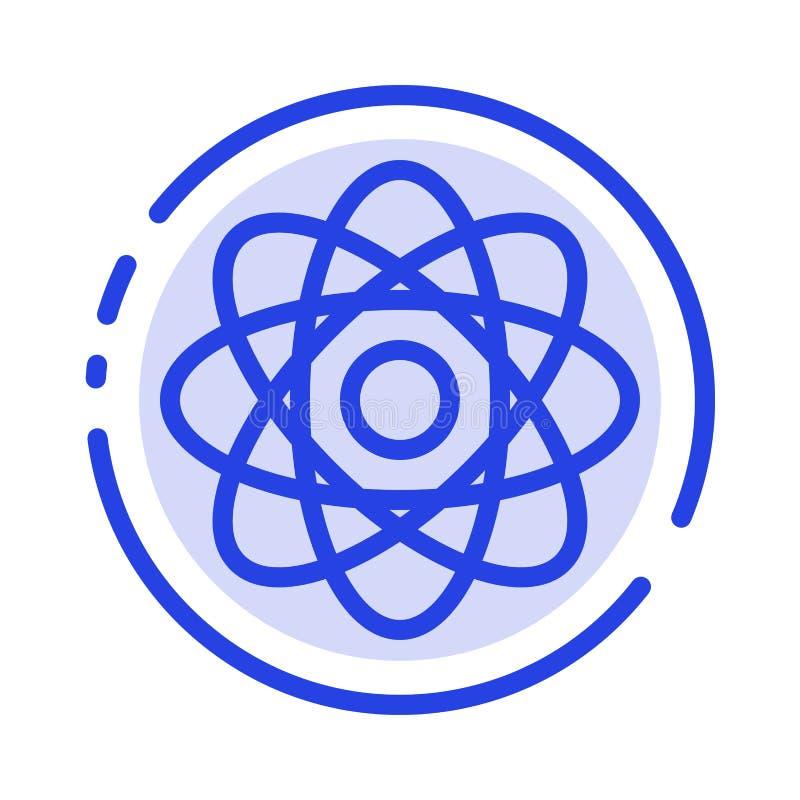 Atome, biochimie, chimie, ligne pointillée bleue ligne icône de laboratoire illustration stock