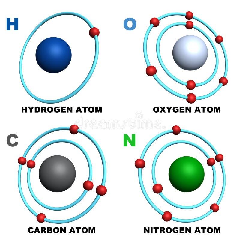 Atome d'azote de carbone de l'oxygène d'hydrogène illustration libre de droits
