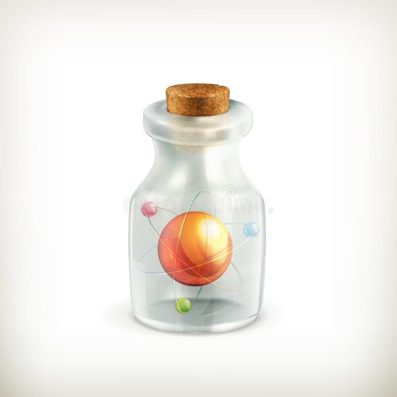 Atome dans une bouteille, graphisme illustration libre de droits