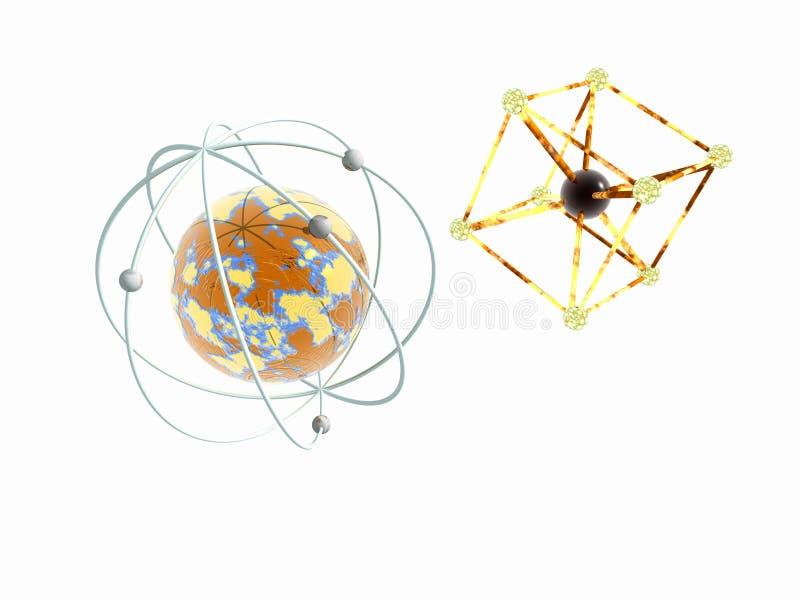 Atome de molécule et de fer. illustration libre de droits