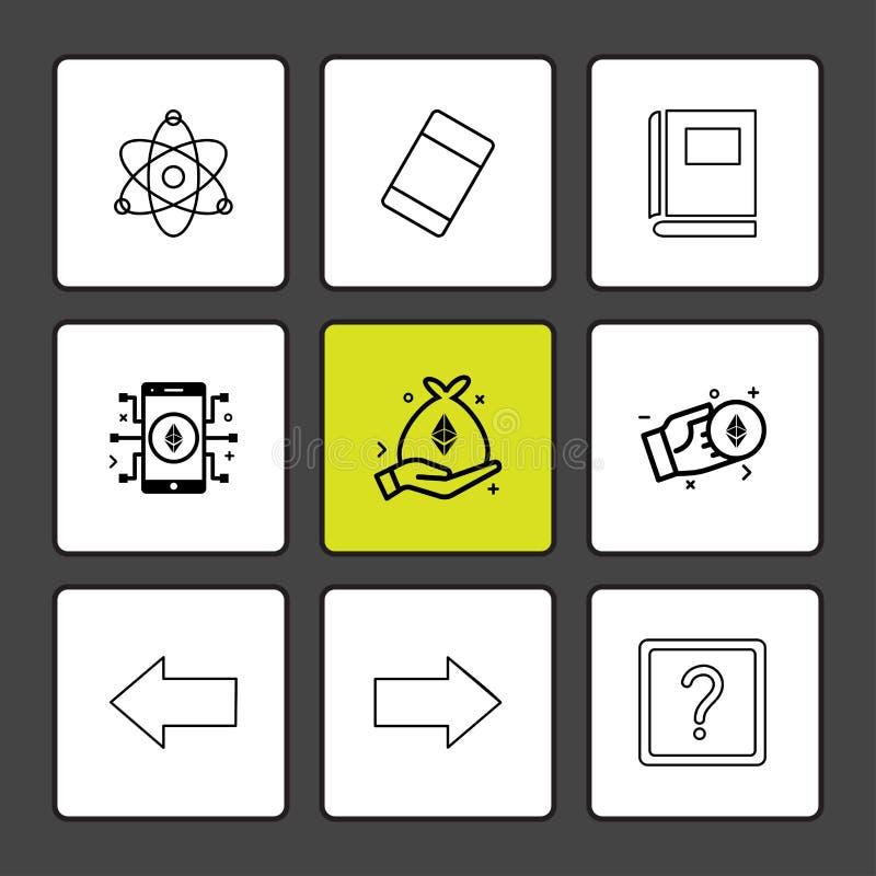 Atome, Radiergummi, Buch, Fragezeichen, Recht, link, Pfeil, Di lizenzfreie abbildung