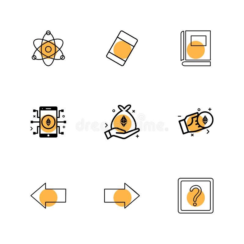 Atome, Radiergummi, Buch, Fragezeichen, Recht, link, Pfeil, Di vektor abbildung