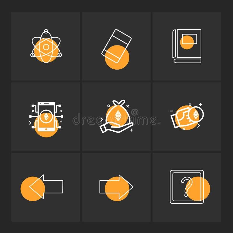 Atome, Radiergummi, Buch, Fragezeichen, Recht, link, Pfeil, Di stock abbildung