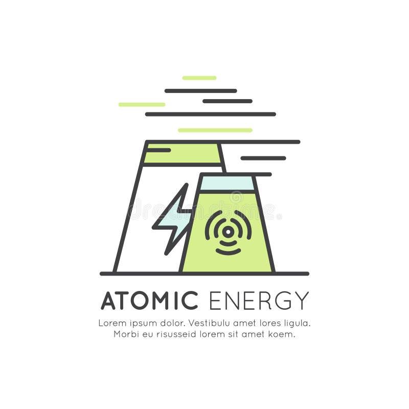 Atomenergistationsgenerator vektor illustrationer
