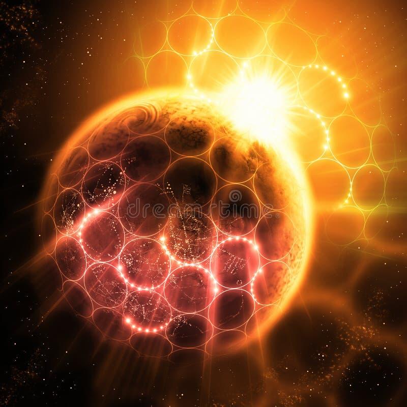 Atomi e fotoni illustrazione vettoriale