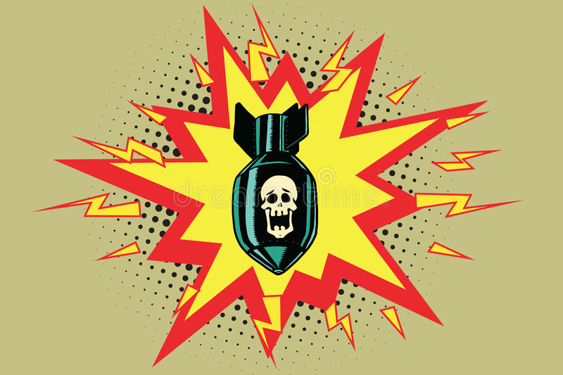 The atomic bomb and skeleton. Comic book illustration pop art retro color vector royalty free illustration