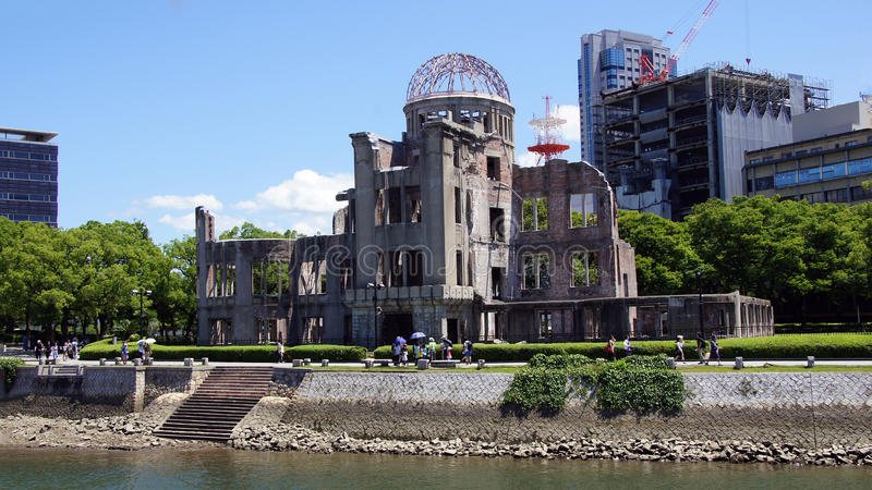 Atomic Dome at Hiroshima Peace Memorial Park. A-Bomb Dome ruins in Hiroshima Peace Memorial Park. Unesco World Heritage Site in Japan royalty free stock photo