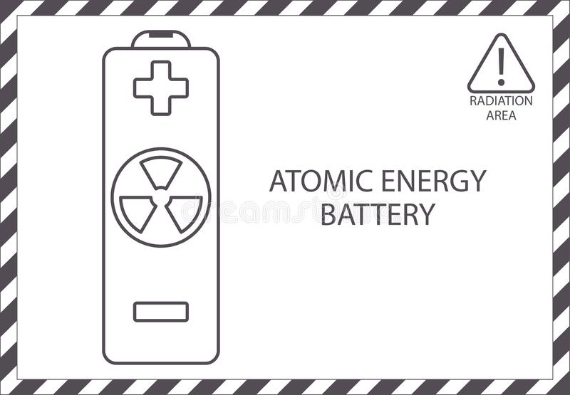 Atomic energy battery. Radiation area. Outline nuclear icon. Radioactive sign attention uranium line art illustration vector eps royalty free illustration
