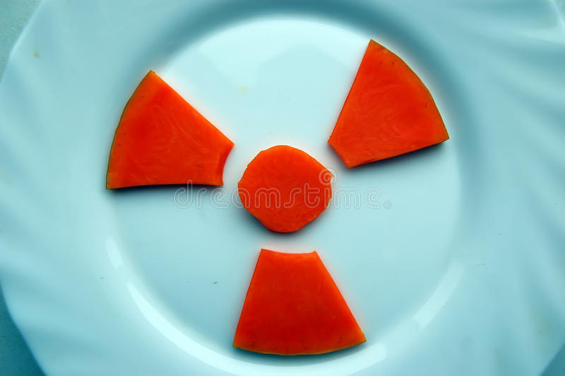 Atomic food.Concept. Concept of nuclear contamination of food royalty free stock photography