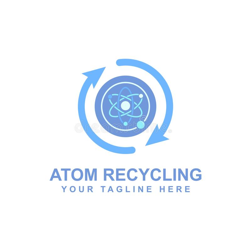Atomic logo design, electron particles vector illustration