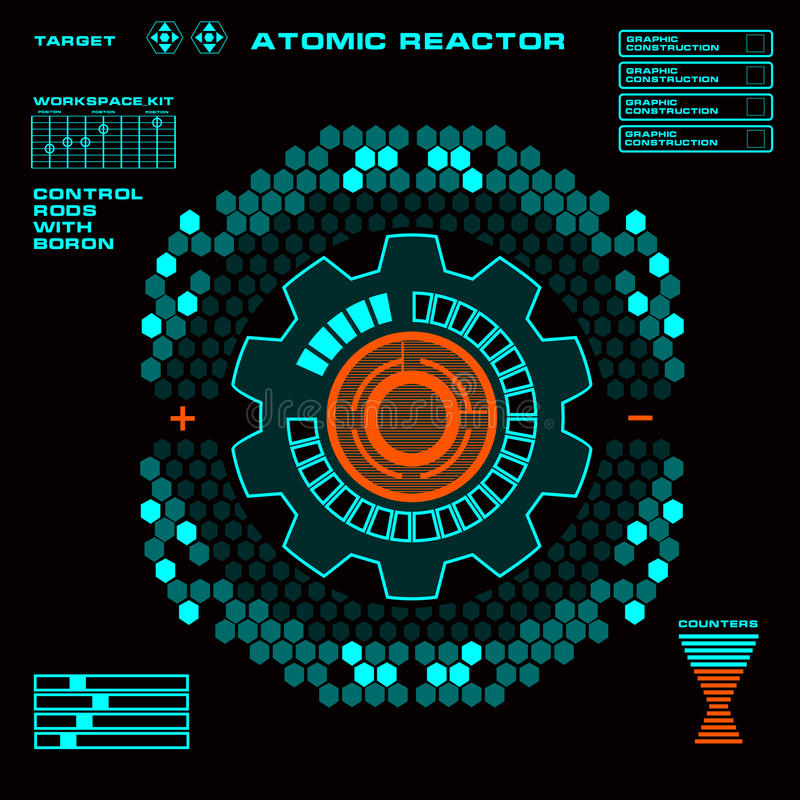 Atomic reactor Futuristic virtual graphic touch user interface. Display, dashboard, screws, illuminated, user, power, interface, sensors, , elements, measurement royalty free illustration