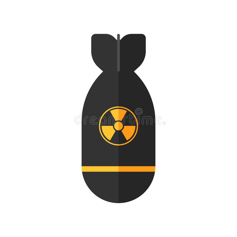 Atomic rocket bomb icon. Atomic rocket bomb flies down. A-bomb sign. Vector illustration icon in flat style design, isolated in white background royalty free illustration