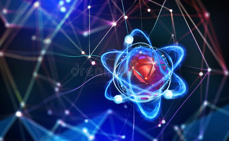 Atomic structure. Futuristic concept. Nanotechnology of future. Neural connections of artificial intelligence. 3d illustration of nano core in abstract stock illustration