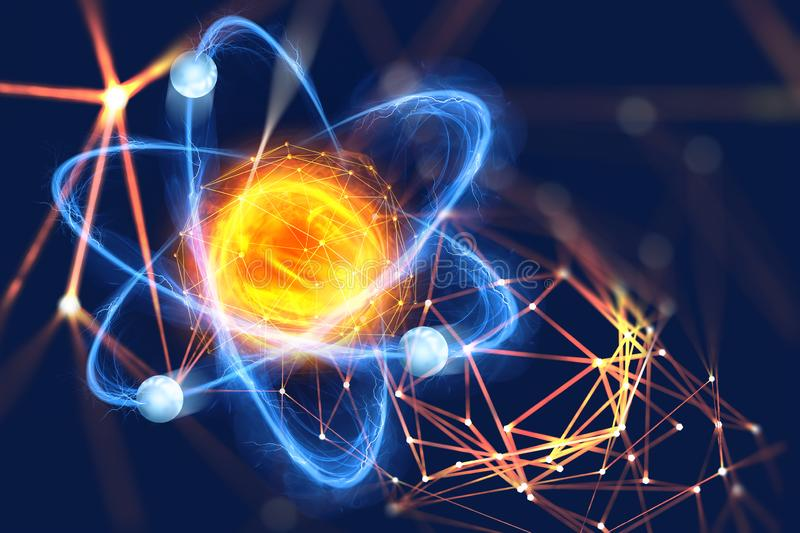 Atomic structure. Futuristic concept on the topic of nanotechnology in science. The nucleus of an atom surrounded by electrons on a technological background stock photography