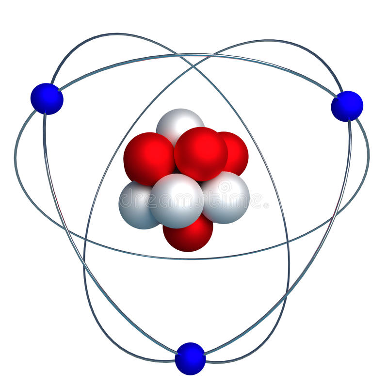 Download Atomic Structure With Proton Neutron And Electron Isolated On W Stock Illustration