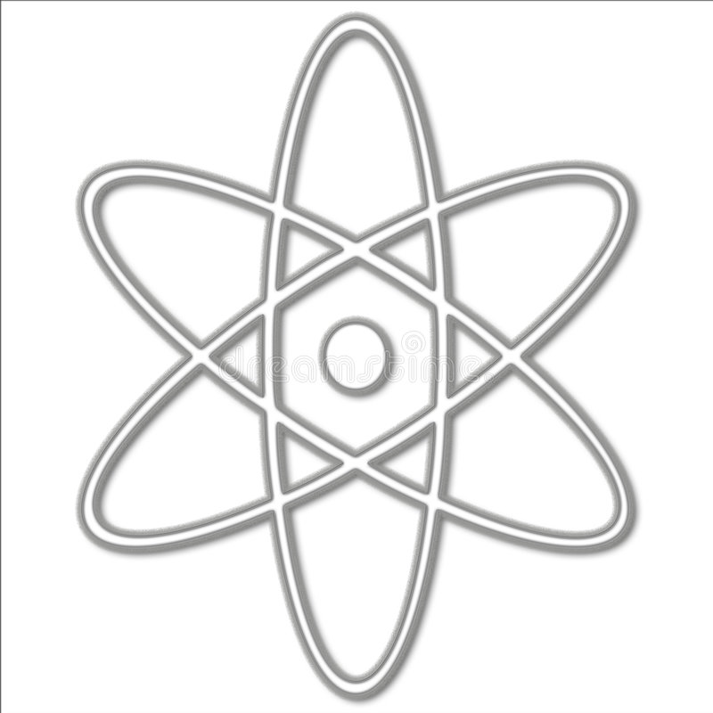 Atomic Symbol. A white illustration of a simple atom symbol stock illustration