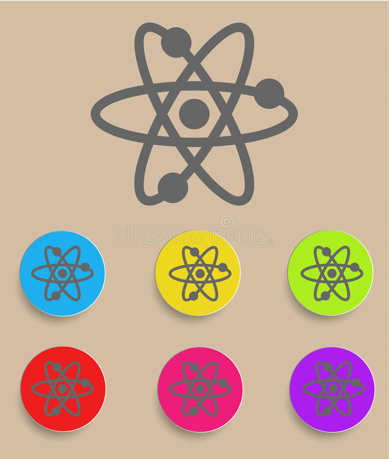 Atomic Symbol Icon Vector with Color Variations.  royalty free illustration