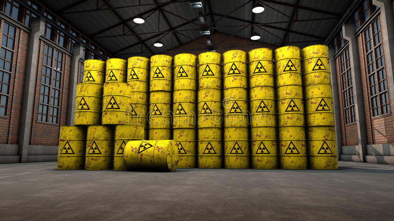 Atomic Waste Yellow Barrels Royalty Free Stock Photography