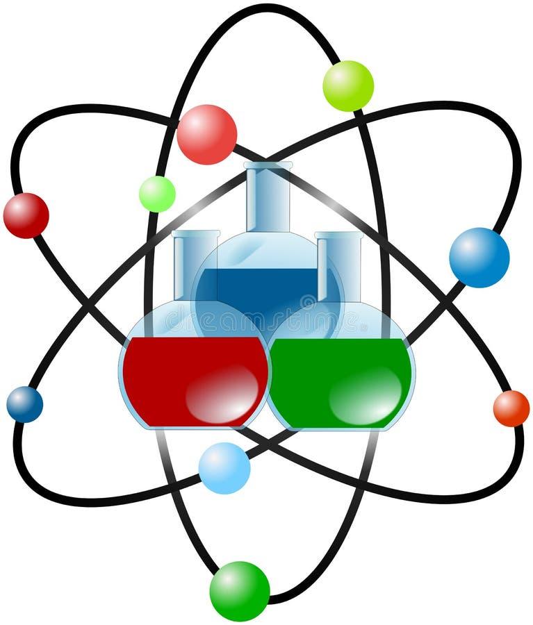 Atomintrig med kulöra laboratoriumflaskor vektor illustrationer