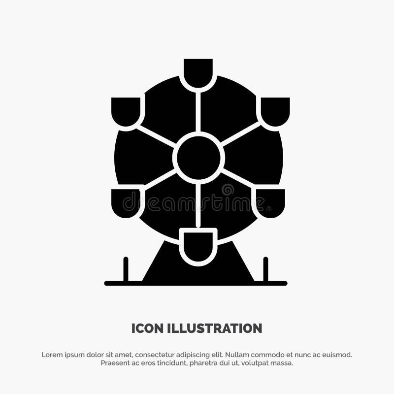 Atomium, Landmark, Monument Solide Black Glyph Icon illustration stock