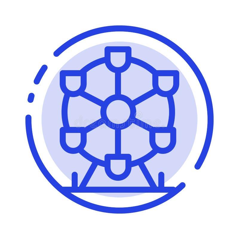 Atomium, point de repère, ligne pointillée bleue ligne icône de monument illustration libre de droits