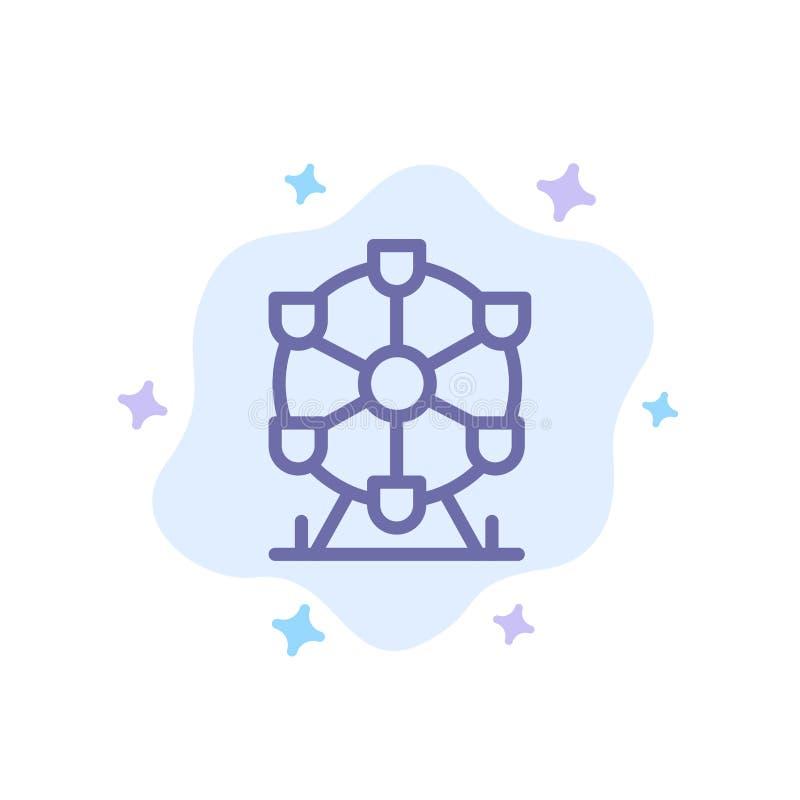 Atomium, repère, icône bleue du monument sur le nuage abstrait Contexte illustration libre de droits