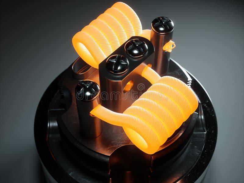 Atomizador de Vaping com bobina do clapton rendição 3d ilustração royalty free
