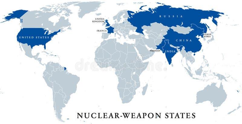 Atommächte, politische Karte lizenzfreie abbildung