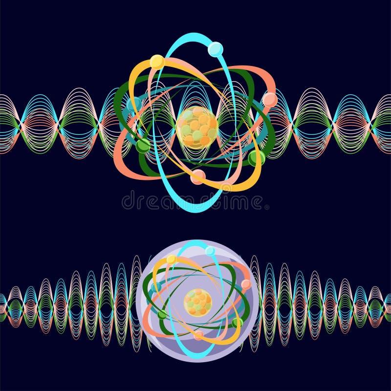 Atomo come una particella ed onda illustrazione di stock