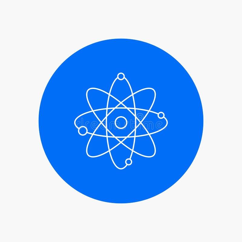 atomo, nucleare, molecola, chimica, linea bianca icona di scienza nel fondo del cerchio Illustrazione dell'icona di vettore royalty illustrazione gratis