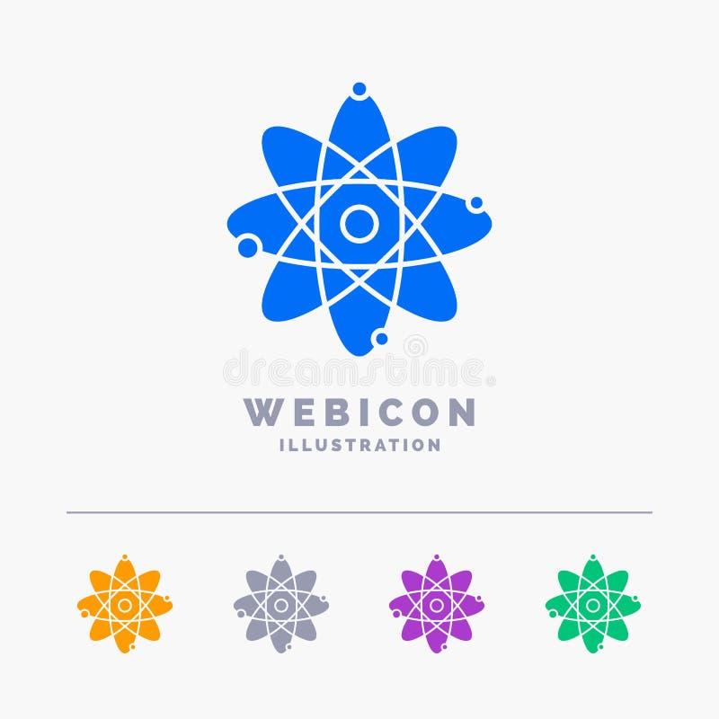 atomo, nucleare, molecola, chimica, modello dell'icona di web di glifo di colore di scienza 5 isolato su bianco Illustrazione di  royalty illustrazione gratis