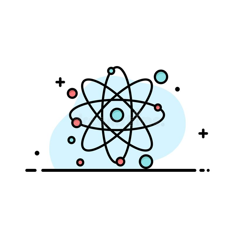 Atomo, particella, molecola, affare Logo Template di fisica colore piano illustrazione di stock