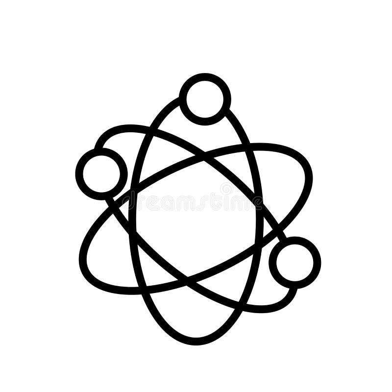 Atomowej struktury ikony wektor odizolowywający na białym tle, Atomowej struktury znak, liniowy symbol i uderzenie, projektujemy  ilustracja wektor