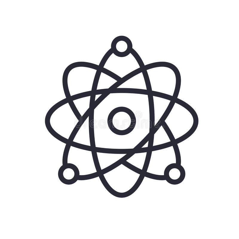 Atomowej struktury ikony znak i symbol odizolowywający na białym tle, Atomowej struktury logo pojęcie ilustracji