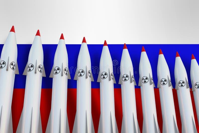 Atomraketen in Folge und Flagge von Russland vektor abbildung