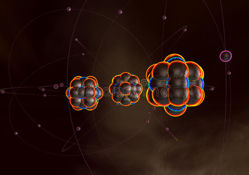Atoms and nuclei. With electrons, 3D image stock images