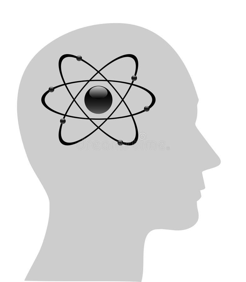 Atomsymbol im menschlichen Kopf lizenzfreie abbildung
