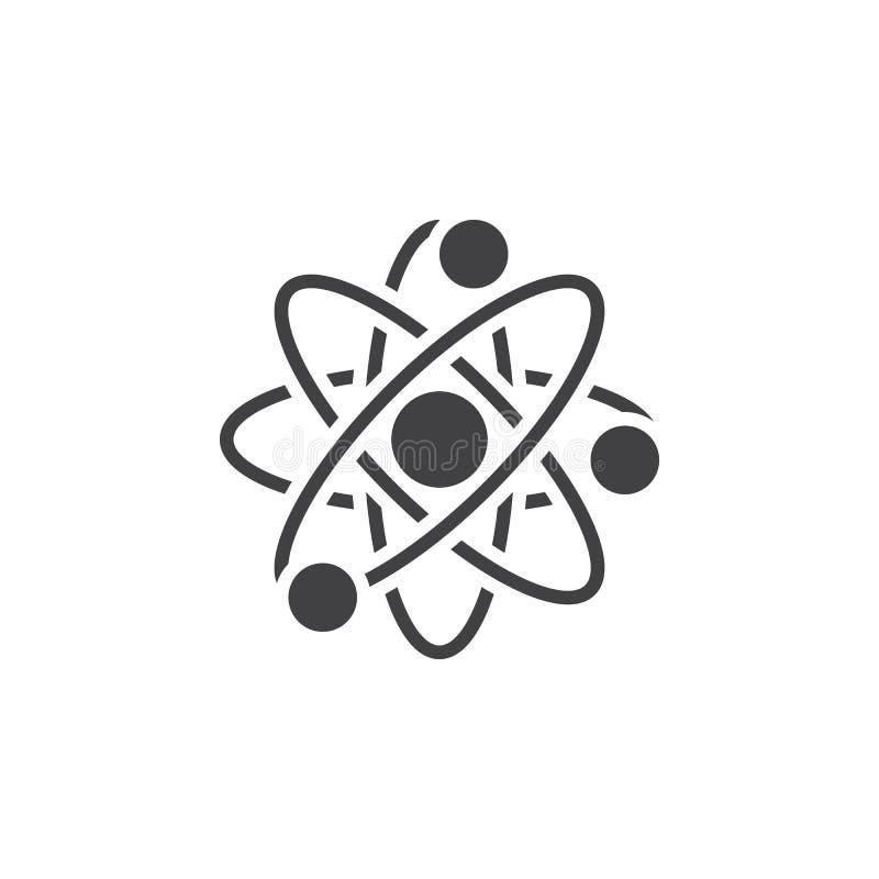Atomsymbolsvektor, fast logo, pictogram som isoleras på vit, PIXEL stock illustrationer