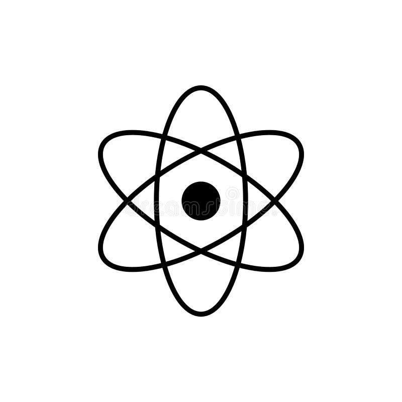 Atomu logo Nauka znak Jądrowa ikona Elektrony i protony Odizolowywający na bielu ilustracja wektor